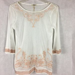 Gimmicks sheer ivory and peach blouse size medium